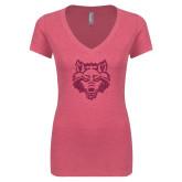 Next Level Ladies Vintage Pink Tri Blend V-Neck Tee-Red Wolf Head Glitter