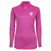Ladies Syntrel Interlock Raspberry 1/4 Zip-Red Wolf Head
