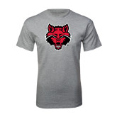 Sport Grey T Shirt-Red Wolf Head