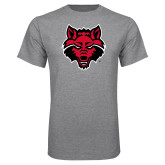 Grey T Shirt-Red Wolf Head