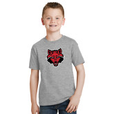 Youth Grey T Shirt-Red Wolf Head