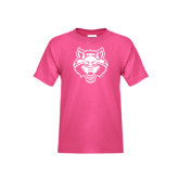 Youth Fuchsia T-Shirt-Red Wolf Head