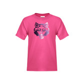 Youth Fuchsia T-Shirt-Red Wolf Head Foil