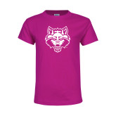 Youth Fuchsia T Shirt-Red Wolf Head