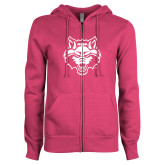 ENZA Ladies Fuchsia Fleece Full Zip Hoodie-Red Wolf Head