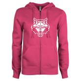 ENZA Ladies Fuchsia Fleece Full Zip Hoodie-Red Wolf Head