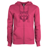 ENZA Ladies Fuchsia Fleece Full Zip Hoodie-Red Wolf Head Glitter