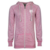 ENZA Ladies Hot Pink Marled Full Zip Hoodie-Red Wolf Head