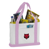 Contender White/Pink Canvas Tote-Red Wolf Head