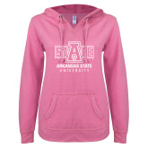 ENZA Ladies Hot Pink V Notch Raw Edge Fleece Hoodie-University Mark