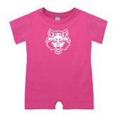 Bubble Gum Pink Infant Romper-Red Wolf Head