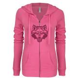 ENZA Ladies Hot Pink Light Weight Fleece Full Zip Hoodie-Red Wolf Head Glitter
