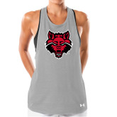 Ladies Under Armour Grey Pinhole Tank-Red Wolf Head