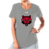 Ladies Under Armour Grey Charged Cotton Tee-Red Wolf Head