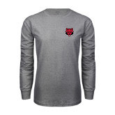 Grey Long Sleeve T-Shirt-Red Wolf Head