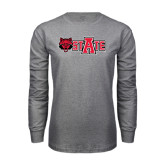 Grey Long Sleeve T-Shirt-Red Wolf Head w/A State