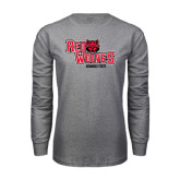 Grey Long Sleeve T-Shirt-Red Wolves Stacked Head Centered