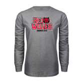 Grey Long Sleeve T-Shirt-Red Wolves Stacked Head on Right
