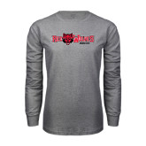 Grey Long Sleeve T-Shirt-Red Wolves w/Red Wolf Head Centered