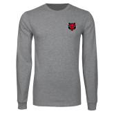 Grey Long Sleeve T Shirt-Red Wolf Head
