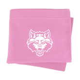 Pink Sweatshirt Blanket-Red Wolf Head