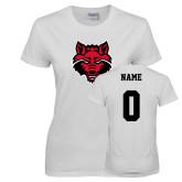 Ladies White T Shirt-Red Wolf Head, Custom Tee w/ Name and #