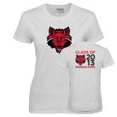 Ladies White T Shirt-Red Wolf Head, Personalized Class Of Tee