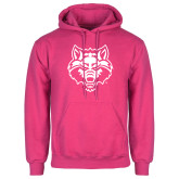 Fuchsia Fleece Hoodie-Red Wolf Head