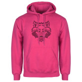 Fuchsia Fleece Hoodie-Red Wolf Head Glitter