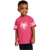 Toddler Vintage Hot Pink Jersey Tee-Red Wolf Head