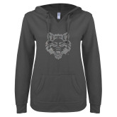 ENZA Ladies Dark Heather V-Notch Raw Edge Fleece Hoodie-Red Wolf Head Glitter