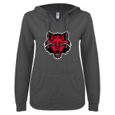 ENZA Ladies Dark Heather V Notch Raw Edge Fleece Hoodie-Red Wolf Head