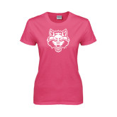 Ladies Fuchsia T Shirt-Red Wolf Head