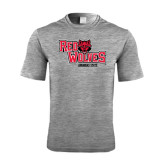 Performance Grey Heather Contender Tee-Red Wolves Stacked Head Centered
