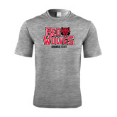 Performance Grey Heather Contender Tee-Red Wolves Stacked Head on Right