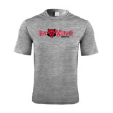 Performance Grey Heather Contender Tee-Red Wolves w/Red Wolf Head Centered