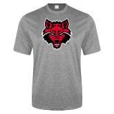 Performance Grey Heather Contender Tee-Red Wolf Head