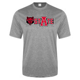 Performance Grey Heather Contender Tee-Red Wolf Head w/A State