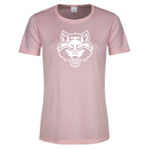 Ladies Performance Light Pink Tee-Red Wolf Head
