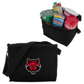 Six Pack Black Cooler-Red Wolf Head