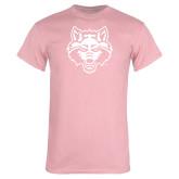 Light Pink T Shirt-Red Wolf Head