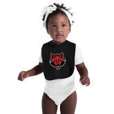 Black Baby Bib-Red Wolf Head