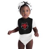 Black Baby Bib-Red Wolf Head
