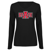 Ladies Black Long Sleeve V Neck Tee-A State