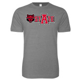 Next Level SoftStyle Heather Grey T Shirt-Red Wolf Head w/A State
