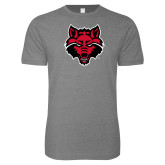Next Level SoftStyle Heather Grey T Shirt-Red Wolf Head