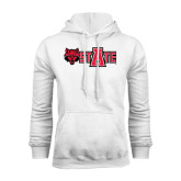 White Fleece Hood-Red Wolf Head w/A State