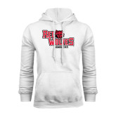 White Fleece Hood-Red Wolves Stacked Head Centered