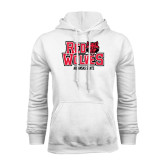 White Fleece Hood-Red Wolves Stacked Head on Right