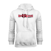 White Fleece Hood-Red Wolves w/Red Wolf Head Centered